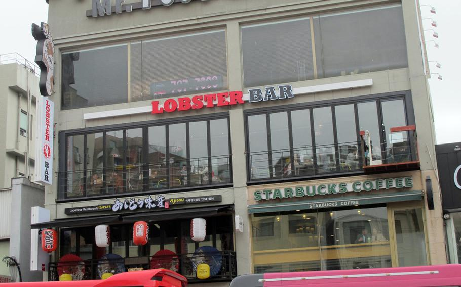 Lobster Bar's new location is at the start of Itaewon's main road, and includes ample room for large parties.