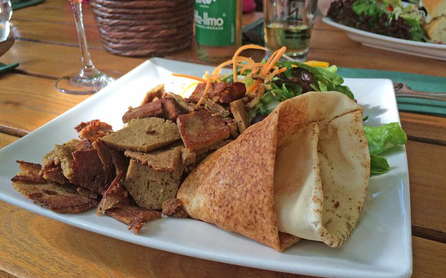 """Vegan fare at Munich's Max Pett ranges from traditional analogs like this doner kebab replacement to more unusual offerings like """"palak"""" tofu."""