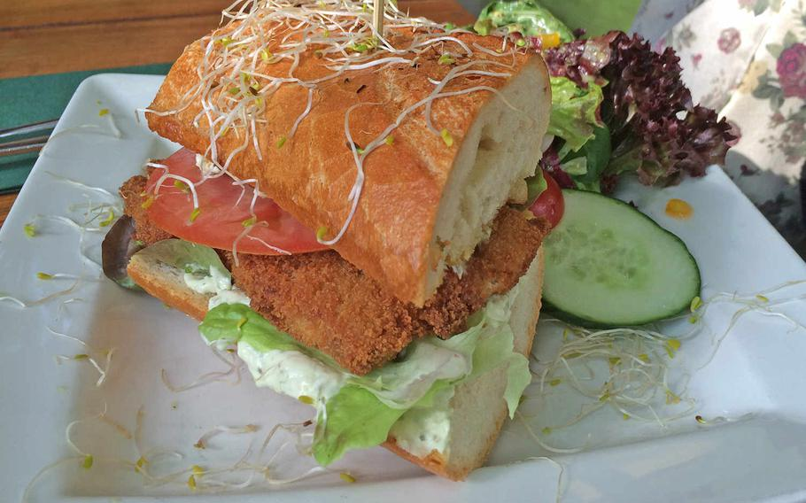 """Though the salad on the side is a possible giveaway, the vegan """"schnitzel"""" at Max Pett at least looks indistinguishable from the real thing.  Michael S. Darnell/Stars and Stripes"""