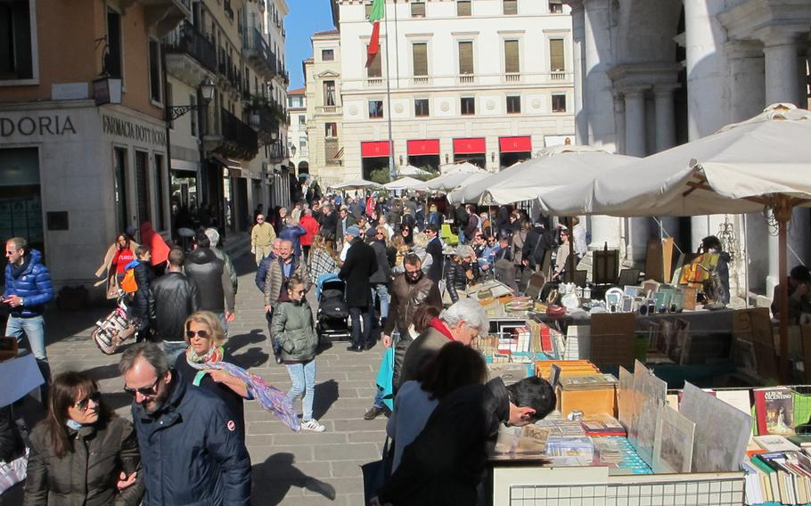 Vicenza's antiques and collectibles market, held the second Sunday of the month, offers old and beautiful items in an old, beautiful setting.