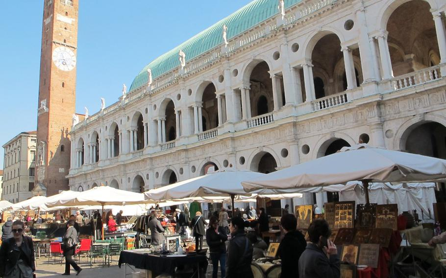 Vicenza's antiques and collectibles market brings some 200 vendors from the Veneto to the Piazza dei Signori in the heart of town.