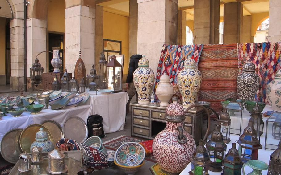 Vicenza's antiques and collectibles market is not restricted to Italian goods but includes those from farther afield, such as Morocco, like those featured here.