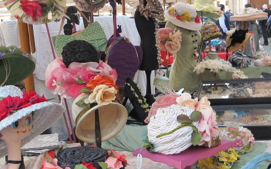 Antique hats at Vicenza's antiques and collectibles market may not be practical, but they are fun to look at.