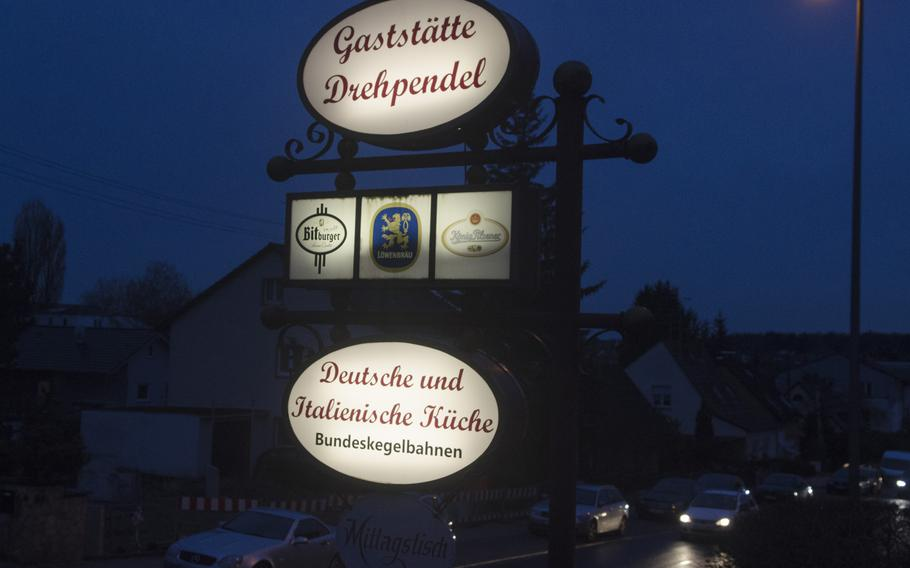 The sign for Gastaette Drehpendel, a homey German and Italian restaurant within walking distance of most of Wiesbaden's U.S. housing areas.
