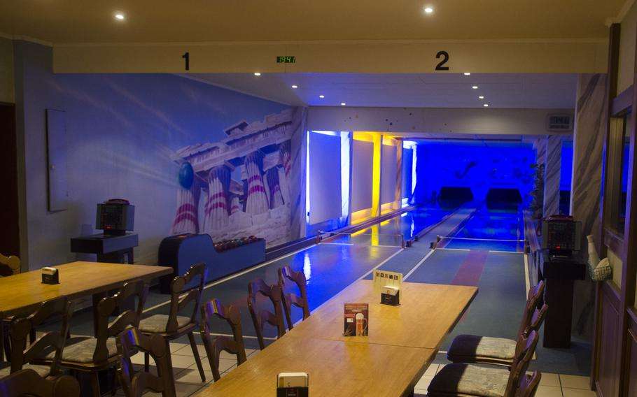 The bowling room at Gastaette Drehpendel, a German and Italian restaurant in the Wiesbaden suburb of Bierstadt. Despite being connected to the restaurant's dining room, thick walls prevent pins falling from disturbing diners.