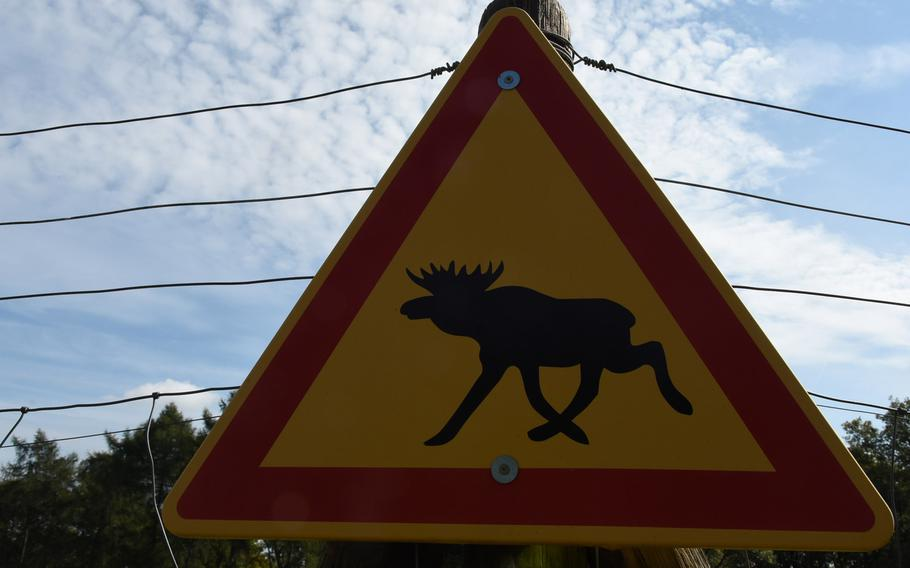 A sign at  Wildpark Potzberg indicates some of the larger-hoofed mammals visitors can see roaming enclosures at the wooded animal park.