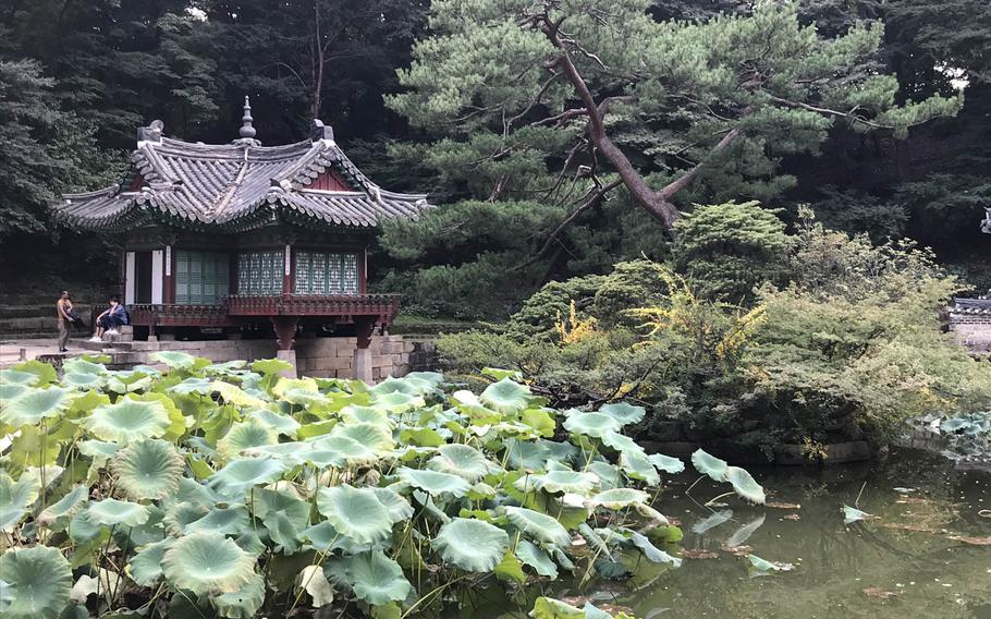 A pavilion on the edge of the Buyongji Pond that was said to be used by past kings for fishing in the Secret Garden behind the Changdeokgung Palace in Seoul on Sunday, Oct. 8, 2017.