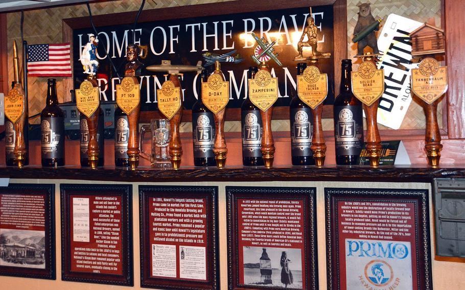 The handmade draft taps at the Brewseum in Honolulu, where brews are named to commemorate individuals, units, vessels or events of World War II.