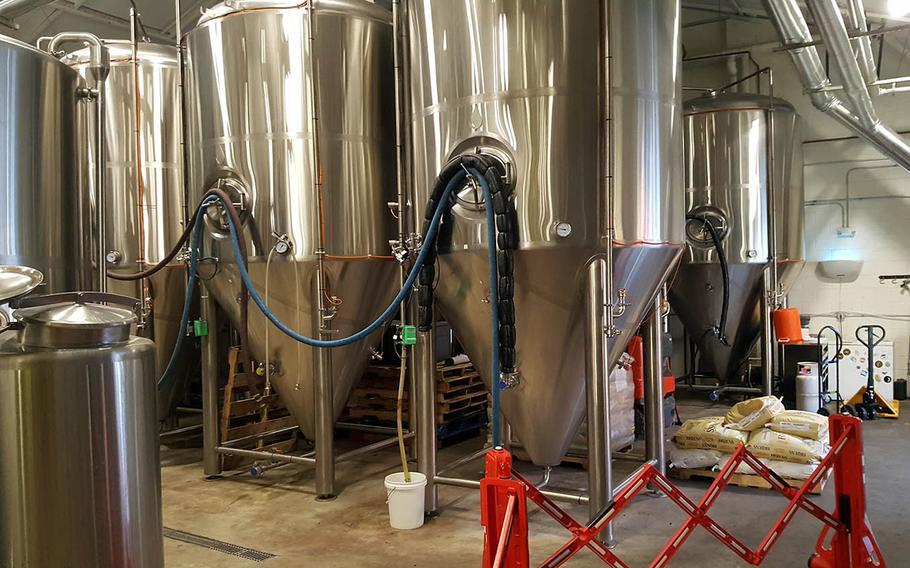 Beer brewing tanks at Waikiki Brewing Co. in Honolulu.