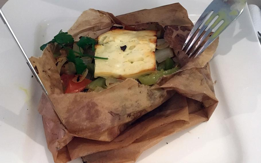 Drei Mohren offers a special lunch menu with different items each day. Feta and grilled veggies wrapped in parchment paper was one recent offering.