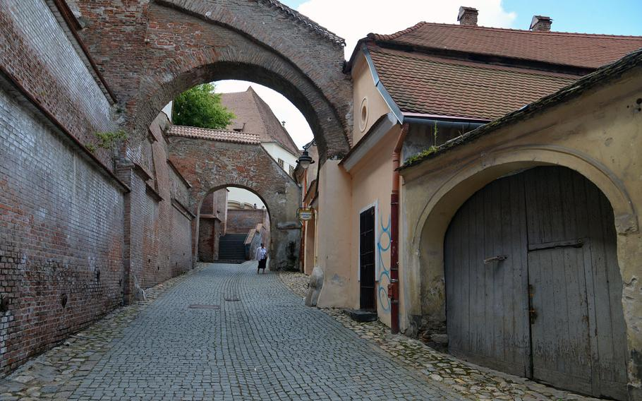 The 13th-century Pasajul Scarilor, or Passage of Steps, with its arches and stairs connects Sibiu, Romania's upper and lower towns.