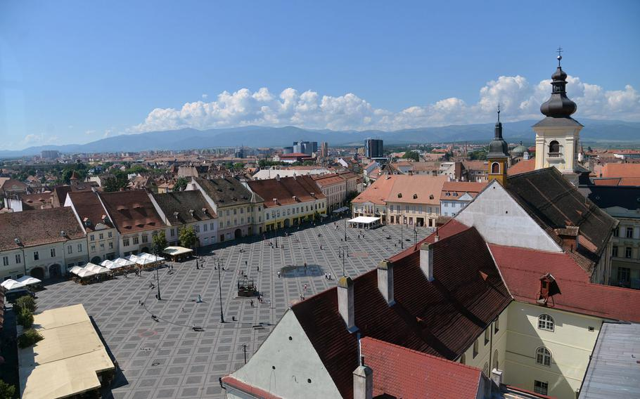 A view of the Piata Mare or Great Square in Sibiu, Romania, as seen from the 13th-century Turnul Sfatului, or Council Tower.