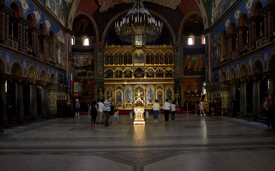 Inside Sibiu, Romania's Orthodox Metropolitan Cathedral. Built early in the 20th century, it is the second-largest Orthodox church in Romania.