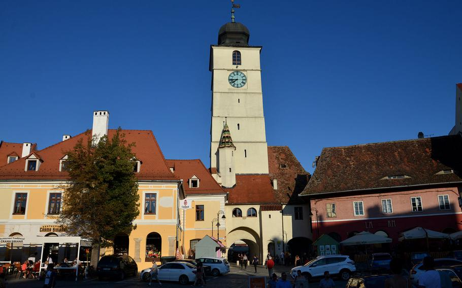 The 13th-century Turnul Sfatului, or Council Tower in Sibiu Romania. It was once part of the inner fortifications of the city. Today you can climb its steps to the top floor for a beautiful view of the city and the surrounding countryside.
