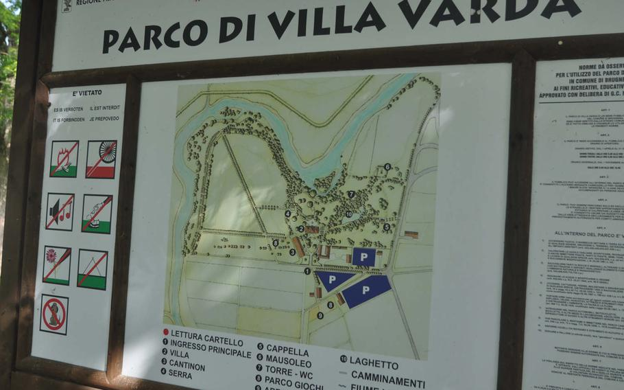 The Villla Varda park is on the outskirts of Brugnera, Italy, and includes numerous tree-lined paths favored by joggers and walkers.