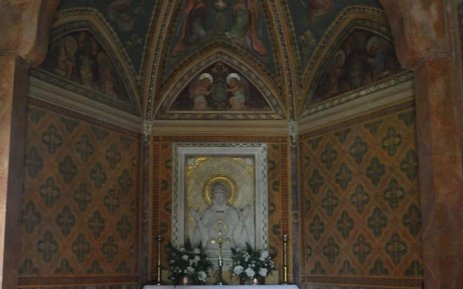 Any service conducted in the chapel at Parco di Villa Varda  near Brugnera, Italy, would have to be small. There are only a handful of benches. But the interior is nicer than many larger peers around Italy.