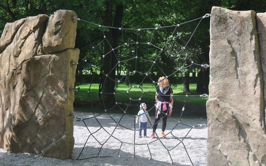 Kids can climb a web on the playground at Parco di Villa Varda near Brugnera, Italy. Spider suit not required.