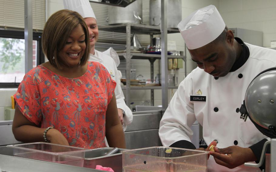 Sunny Anderson (TV show host, author): The host of the Food Network show 'Cooking for Real' and 'Made in America with Sunny Anderson' served in the Air Force as a military radio host and was honorably discharged in 1997. Anderson took her 'Cooking for Real' show to Fort Bragg in 2011 to highlight the work of the advanced culinary students and instructors at the base's joint culinary center and often makes appearances at U.S. military bases in support of troops.