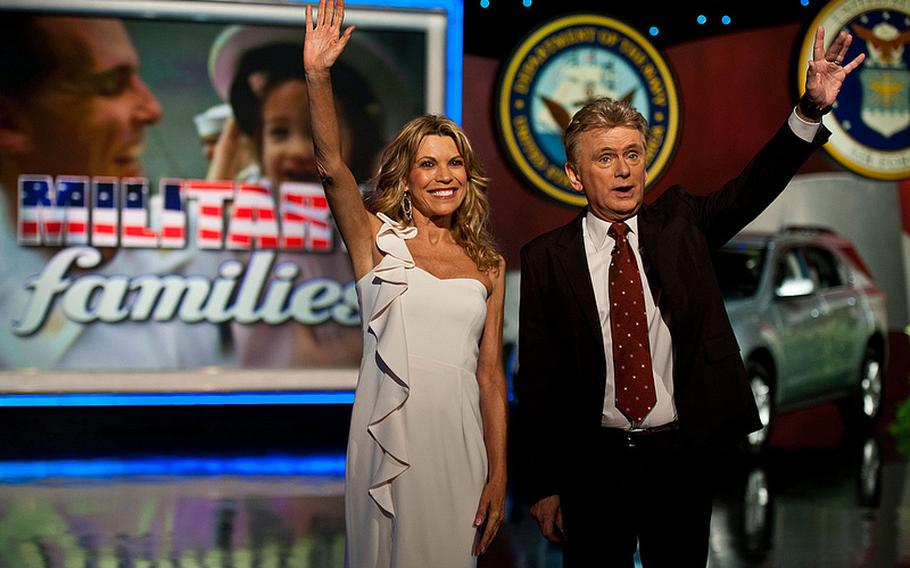 Pat Sajak (TV game show host): Sajak, seen here with 'Wheel of Fortune' costar Vanna White during a 2012 taping of the show starring military families, left college after three years to join the Army in 1968, when he was sent to Vietnam. Sajak spent several months as a finance clerk before transferring to Armed Forces Radio. He was given the morning show on the Armed Forces Vietnam Network in Saigon, greeting troops with the familiar 'Good morning, Vietnam!' Sajak completed his military career in 1970.
