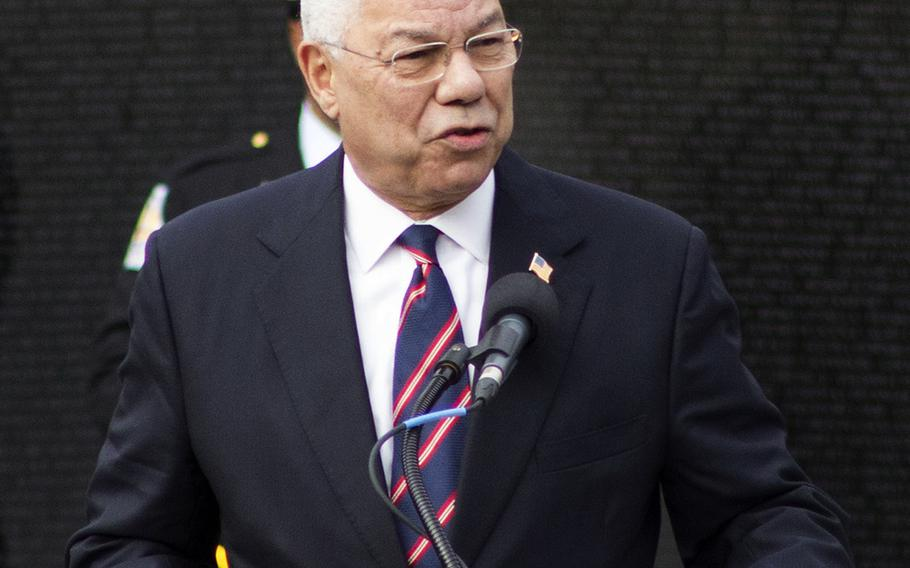 General Colin Powell (Ret) as the keynote speaker at the Annual Veterans Day Observance at the Vietnam Veterans Memorial Wall on November 11, 2013.