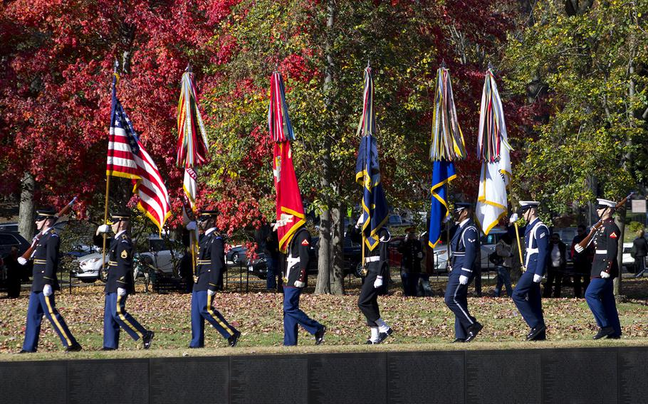 Joint Forces Color Guard from the Military District of Washington at the Annual Veterans Day Observance at the Wall, November 11, 2013 in Washington, D.C.