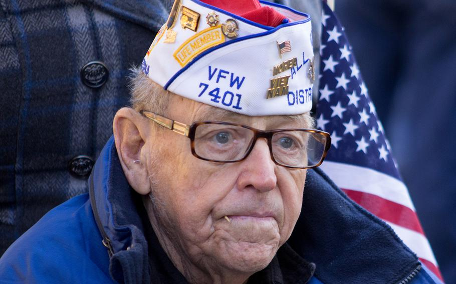 Korea and Vietnam war Veteran Tsgt Charles R. Self  at The Vietnam Veterans Memorial in Washington, D.C. on Veterans Day 2013.
