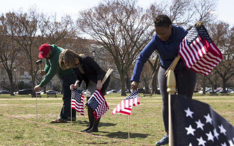 Members and supporters of Iraq and Afghanistan Veterans of America (IAVA) help plant flags on the National Mall in Washington, D.C., on March. 27, 2014. A total of 1,892 flags were planted, each representing the number of veterans and servicemembers estimated to have committed suicide so far in 2014.