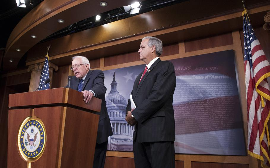 Sen. Bernie Sanders, I-Vt., left, and Rep. Jeff Miller, R-Fla,, talk about the VA reform bill Monday at the Capitol.