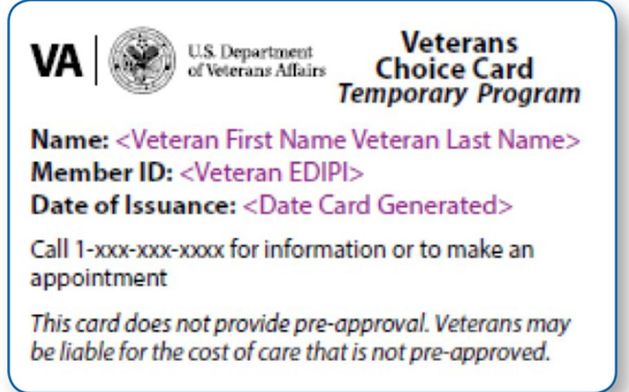 A sample Veterans Choice Card issued by the Department of Veterans Affairs.