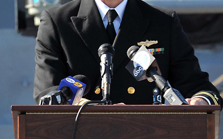 In this photo from March 8, 2015, Los Angeles Mayor Eric Garcetti talks about serving in the Navy Reserve during a ceremony aboard the USS Iowa Museum in San Pedro, Calif.