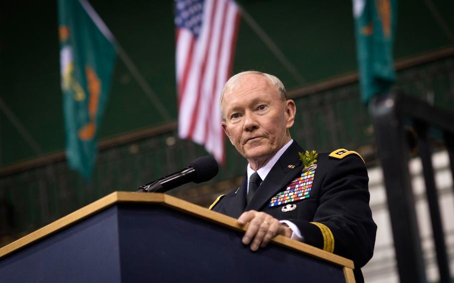 In this photo from March 17, 2015, Joint Chiefs Chairman Gen. Martin E. Dempsey joins New York National Guard's 'Fighting 69th' Infantry Regiment on St. Patrick's Day at their armory in New York City.