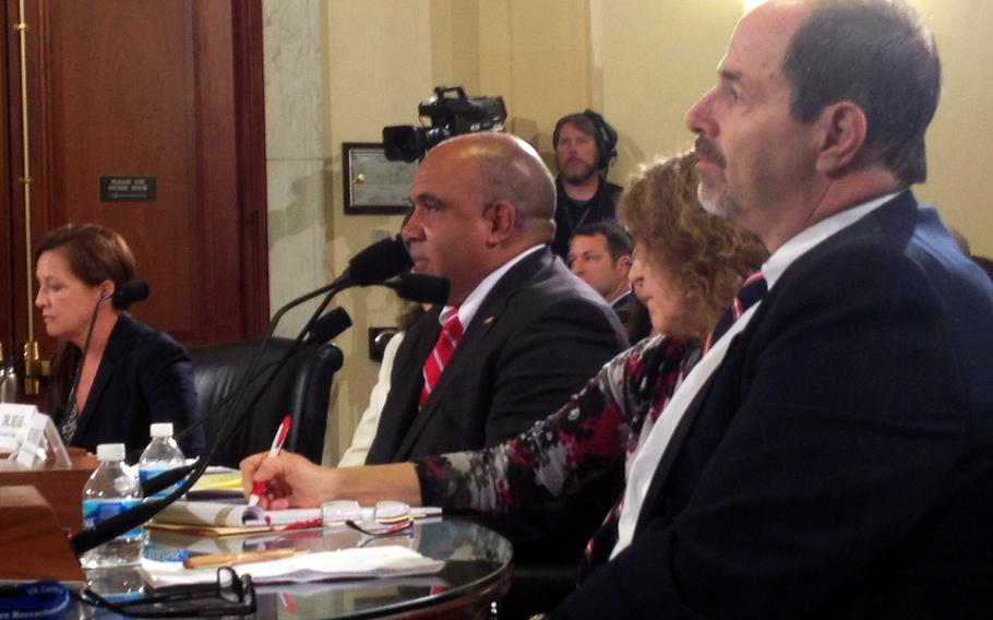 VA employees Richard Tremaine, far right, and Dr. Christian Head, middle, told lawmakers Monday that the department's culture of retaliation against whistleblowers is still rife throughout the veterans healthcare system.