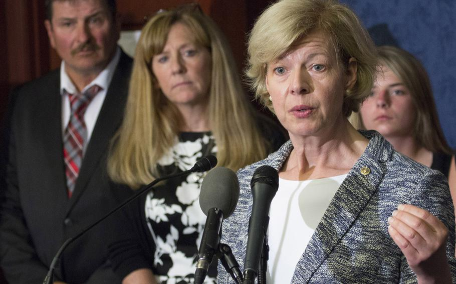 Sen. Tammy Baldwin, D-Wis., speaks about the Jason Simcakoski Memorial Opioid Safety Act at a news conference in Washington, D.C., June 24, 2015. Behind her at left are Marv and Linda Simcakoski, parents of Marine Cpl. Jason Simcakoski, who suffered a fatal overdose while an inpatient at the Tomah Veterans Affairs Medical Center in August 2014.