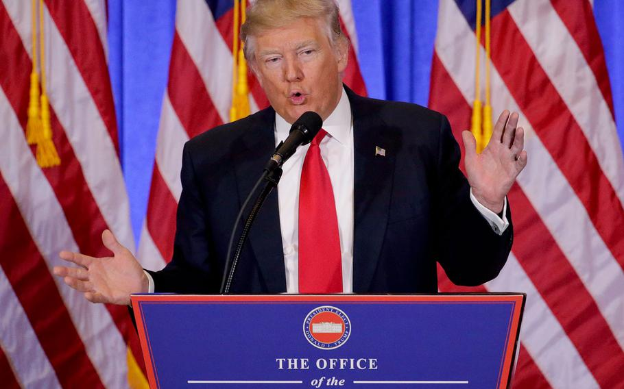President-elect Donald Trump speaks during a news conference on Wednesday, Jan. 11, 2017 in New York. The news conference was his first as President-elect.