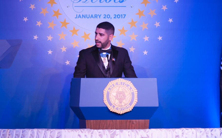 Medal of Honor recipient Capt. Florent Groberg speaks during the Veterans Inaugural Ball: Salute to Heroes on Jan. 20, 2017.
