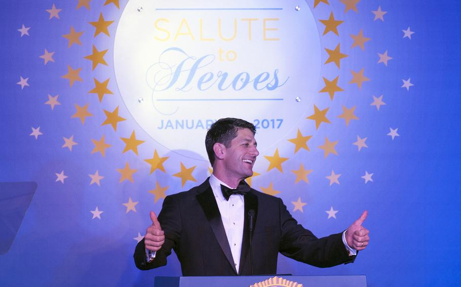 """Speaker Paul Ryan addresses the crowd at the Veterans Inaugural Ball: Salute to Veterans on Jan. 20, 2017. Ryan's political team sought to reassure donors and other supporters that the temporary ban on travelers from seven majority-Muslim countries does not amount to a """"religious test."""""""