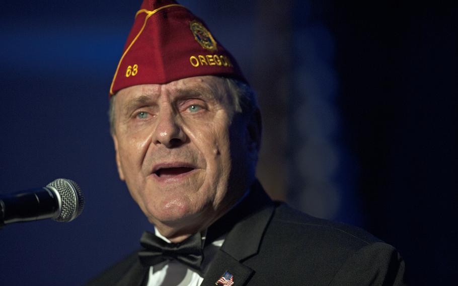 Legion National Commander Charles Schmidt speaks at the Veterans Inaugural Ball on Jan. 20, 2017.