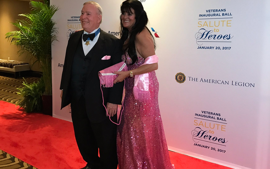 A Medal of Honor recipient pauses on the red carpet at the start of the Veterans Inaugural Ball: Salute to Heroes in Washington, D.C., Jan. 20, 2017.