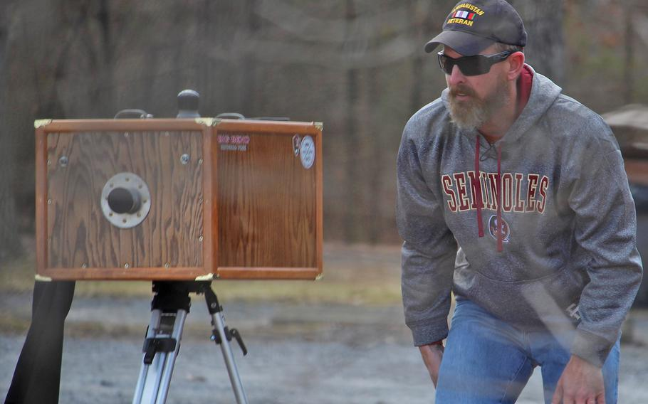 Marine Corps veteran Nick Collier is the first vet to participate in the artist-in-residence program at Gettysburg National Military Park. Here, Collier sets up a shot on Feb. 3, 2017.