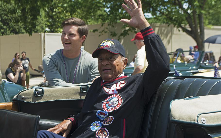 Lt. Col. Harry T. Stewart Jr., who shot down German planes as a fighter pilot with the Tuskegee Airmen during WWII, climbs into a car at the start of the Memorial Day Parade, Washington, D.C., May 29, 2017.