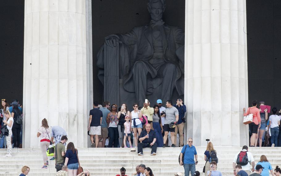 Visitors at the Lincoln Memorial on Memorial Day, May 29, 2017.