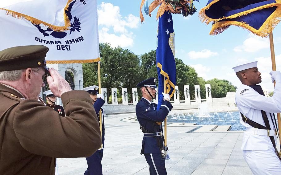 Presentation of the Colors during the 73rd commemoration of D-Day at the World War II Memorial in Washington, D.C., on June 6, 2017.