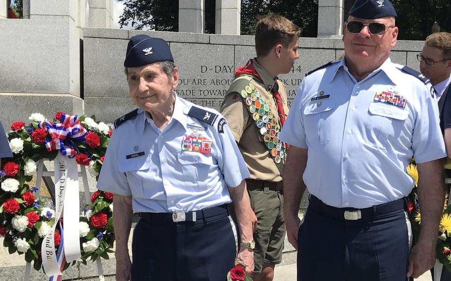 Col. Arnald Gabriel, left, after the 73rd commemoration of D-Day at the National World War II Memorioal on June 6, 2017.