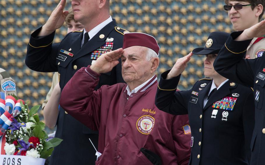 World War II veteran Harold Radish salutes after laying a wreath at the National World War II Memorial in Washington, D.C. on Memorial Day 2017.