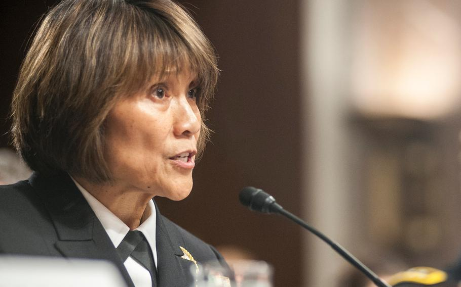 """Director of the Defense Health Agency Vice Adm. Raquel Bono testifies during a Senate hearing on Capitol Hill in Washington, D.C., on Feb. 23, 2016. According to reports on Oct. 5, 2017, Bono supports plans to modernize Tricare with new """"fixed dollar"""" fees for the newly renamed """"Select"""" option."""