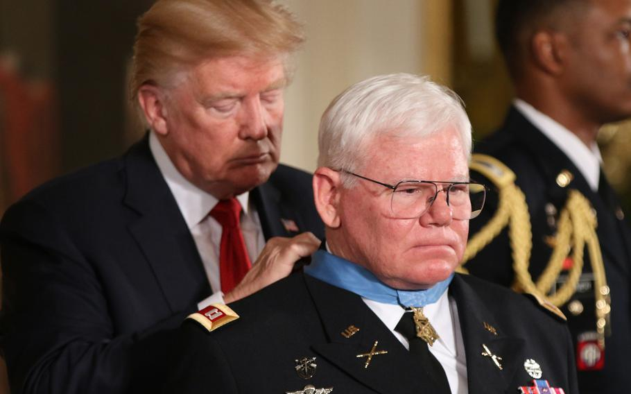 President Donald Trump awarded retired Army Capt. Gary M. Rose the Medal of Honor at a White House Ceremony held Oct. 23, 2017.
