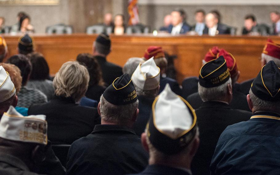 American Legion members attend a legislative agenda hearing on Capitol Hill in Washington, D.C., on Feb. 28, 2018. As debate in Congress over a $1.3 trillion spending bill continued Tuesday, March, 20, eight major veterans organizations including the American Legion were fighting for VA reforms to survive the negotiations.