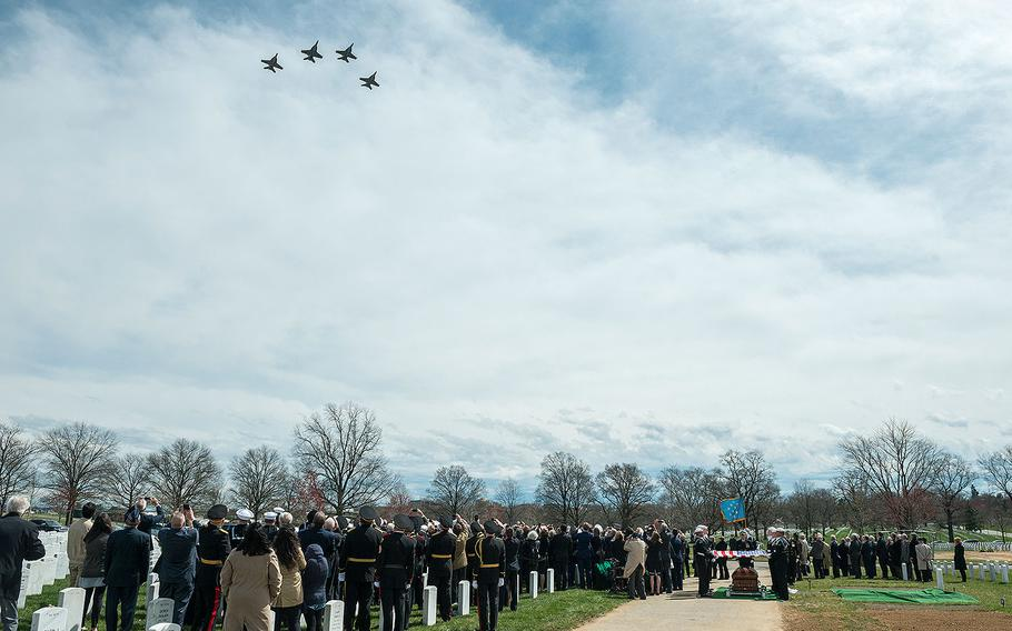 A flyover by the VFA 32 in the missing man formation, during the full honors funeral of U.S. Navy Capt. Thomas J. Hudner in Section 54 of Arlington National Cemetery in Virginia on April 4, 2018. The F-18s are from Hudner's former squadron.