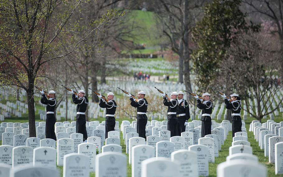 The U.S. Navy Ceremonial Guard firing party fire 3-volleys during the funeral for Capt. Thomas J. Hudner on April 4, 2018 at Arlington National Cemetery.