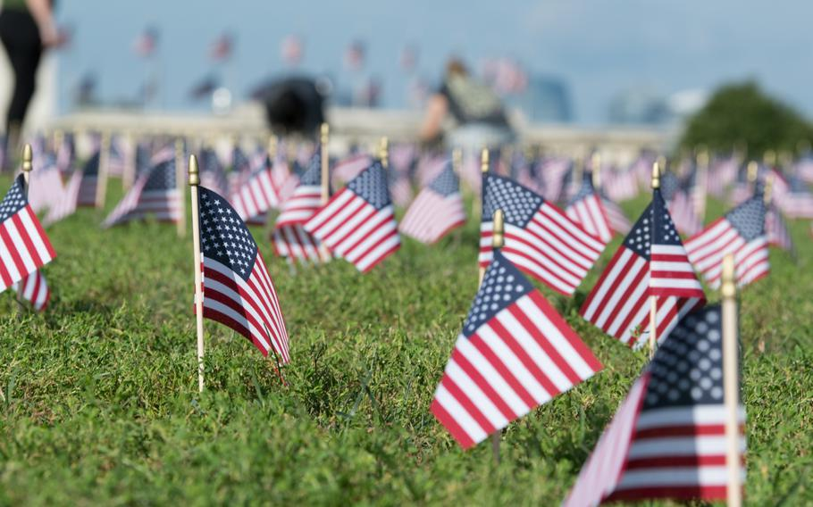 Thousands of American flags filled a grassy expanse on the National Mall on Wednesday morning, each of them representing a veteran or a servicemember who died by suicide in 2018.